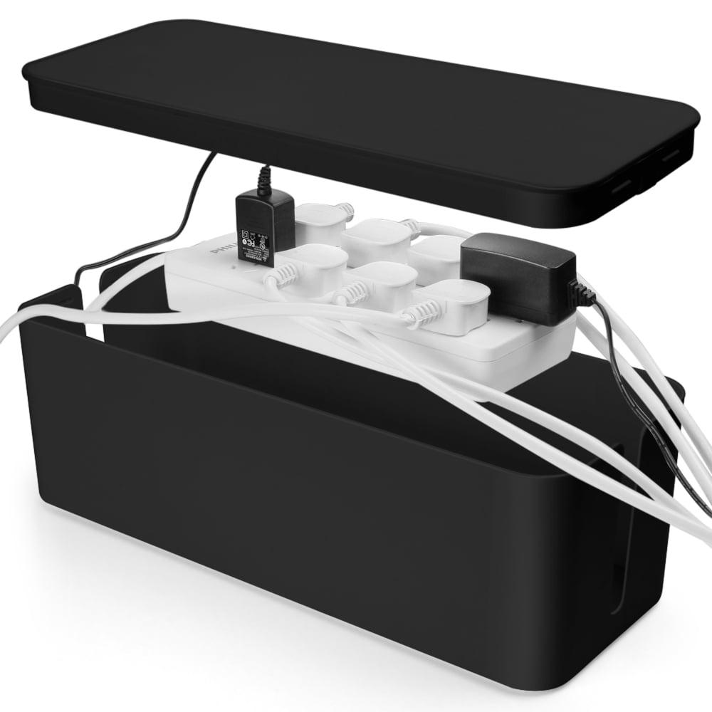 Cable Management Box Cord Organizer - Black Standard 13\