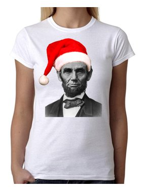 dd475a619 Product Image Junior's Christmas Hat Abraham Lincoln Tee B09 PLY White T- Shirt X-Large