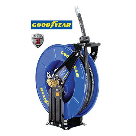 Goodyear M820154g Steel Retractable Oil Similar Fluid Hose Reel With 1 2 In  X 50Ft  Rubber Hose  Max  2320Psi