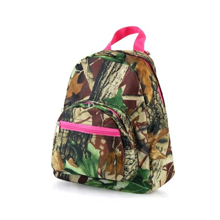 Zodaca Stylish Kids Small Travel Backpack Girls Boys Bookbag Shoulder Children's School Bag for Outside Activity - Natural Camoflague with Pink Trim - image 1 of 4