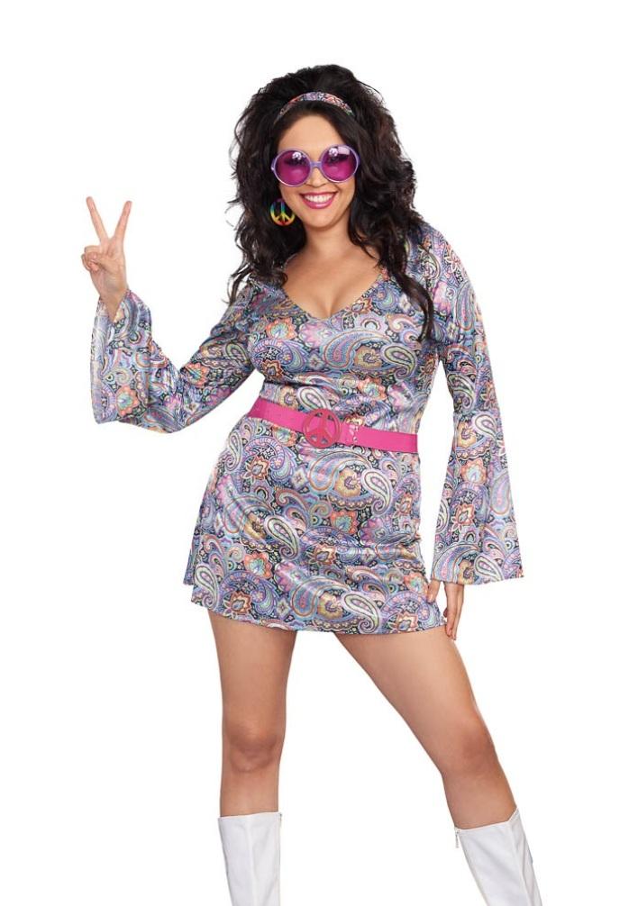 Dreamgirl Love Fest Costume Womens 1960s Groovy Hippie Fancy Dress