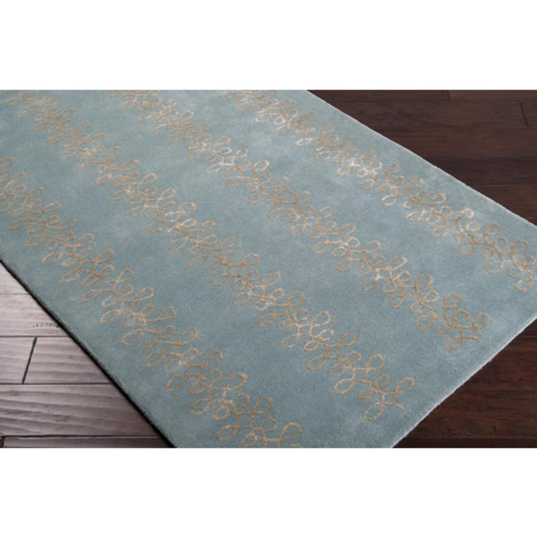 3.25' x 5.25' Passementerie Stormy Sea Blue Wool Area Throw Rug