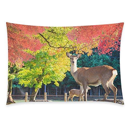 ZKGK Home Decor Animal Deer Sunset £¬ Autumn Leaves Red Maple Leaf Pillowcase 20 x 30 Inches Two Side,Nice Soft Pillow Cover Case Shams Decorative
