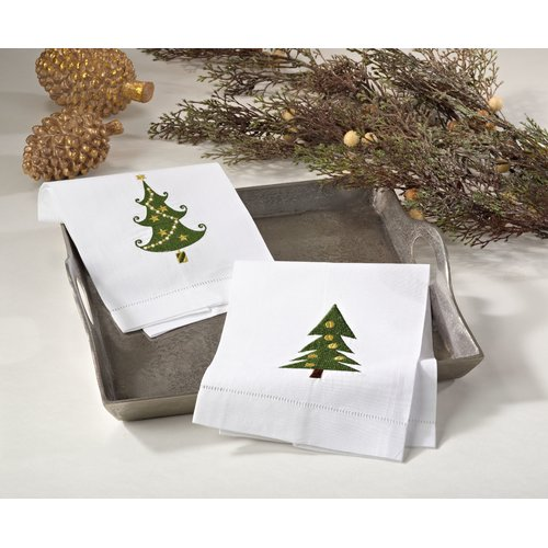 The Holiday Aisle Christmas Tree Embroidery Design Holiday Hemstitched Linen Cotton Guest Hand Towel (Set of 4)