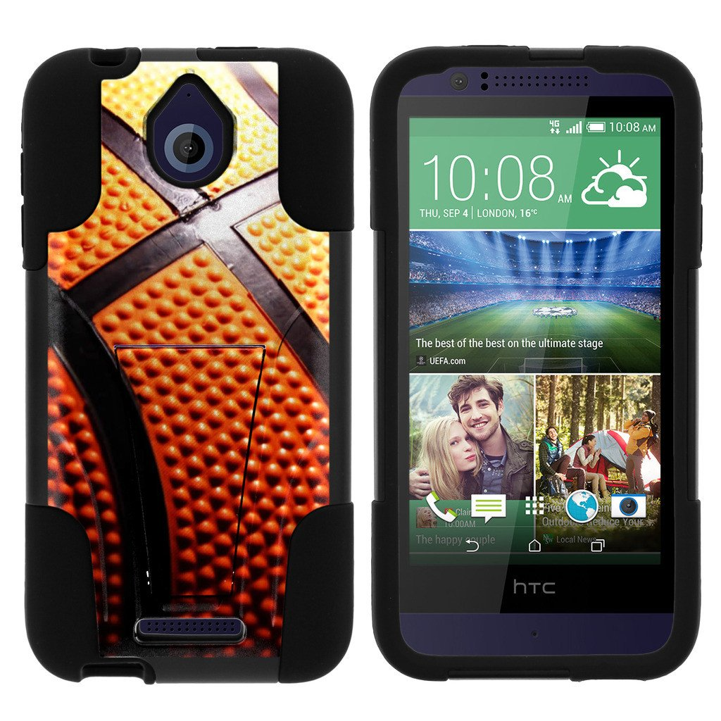 HTC Desire 510 STRIKE IMPACT Dual Layered Shock Resistant Case with Built-In Kickstand by Miniturtle® - Basketball