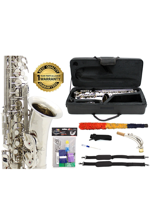 D'Luca 350 Series Nickel Plated Eb Alto Saxophone with F# key, Professional Case, Cleaning... by D'Luca