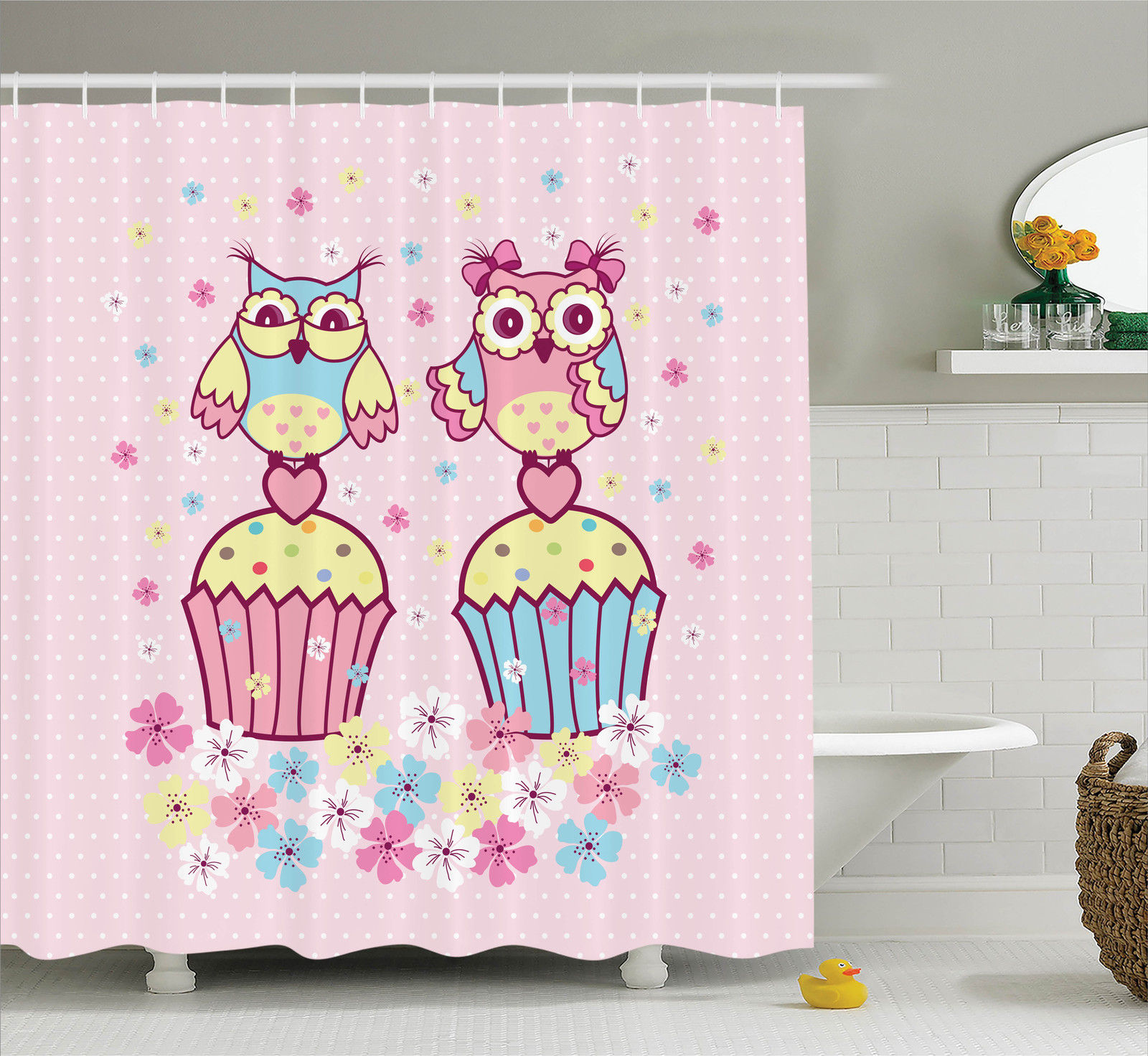 Owls Home Decor  Two Owl Couples On Cupcakes Springtime Happiness Romantic Occasions Children Art, Bathroom Accessories, 69W X 84L Inches Extra Long, By Ambesonne