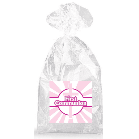 Pink Cross with Pink and White Rays First Communion  Party Favor Bags with Ties - - First Communion Gift Bags