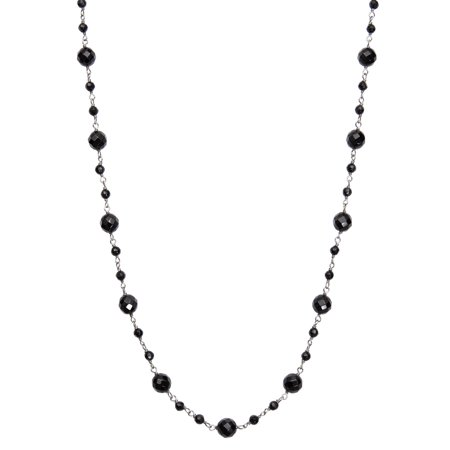 3mm and 6mm Faceted Onyx Sterling Silver Tin Cup Necklace,