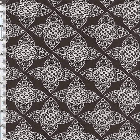 - Brown Lace Print Decor Cotton Twill, Fabric Sold By the Yard