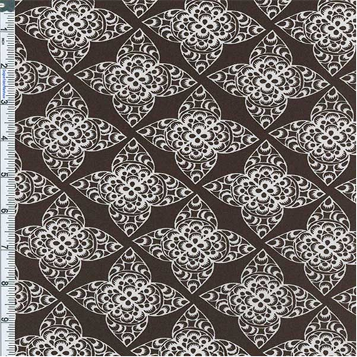 Brown Lace Print Decor Cotton Twill, Fabric By the Yard