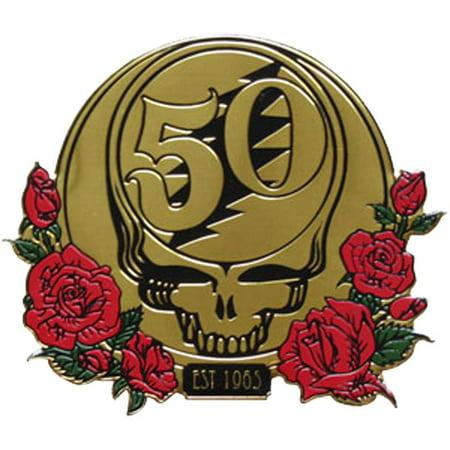 Grateful Dead 50th Anniversary w/ Roses Metal Sticker - - Anniversary Stickers