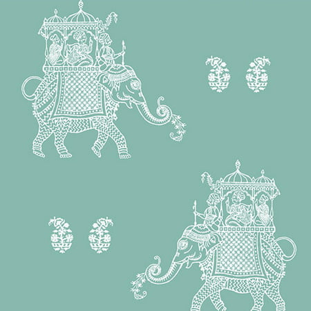 A-Street Prints Ophelia Turquoise Elephant Wallpaper (Christian Blue Border)