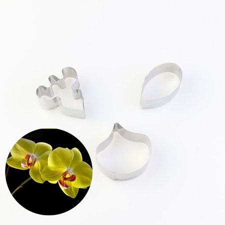 3pcs/set Butterfly Orchid Petal Flowers Cutters Set Fondant Cake Cookie Mold Stainless Steel Sugar Cutter