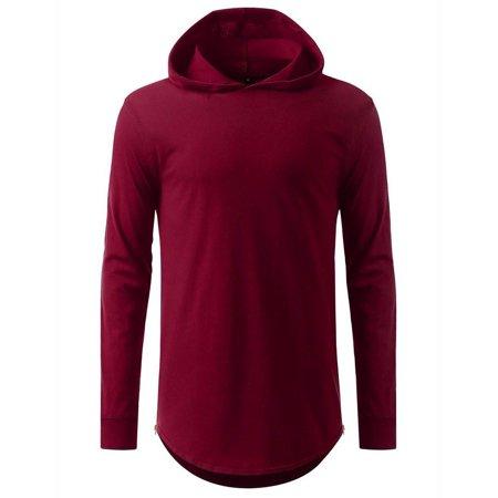 c6ee8a981bf4 Apparel Loop - hooded Elongated Basic Drop Tail Long Sleeve T-Shirt -  Walmart.com