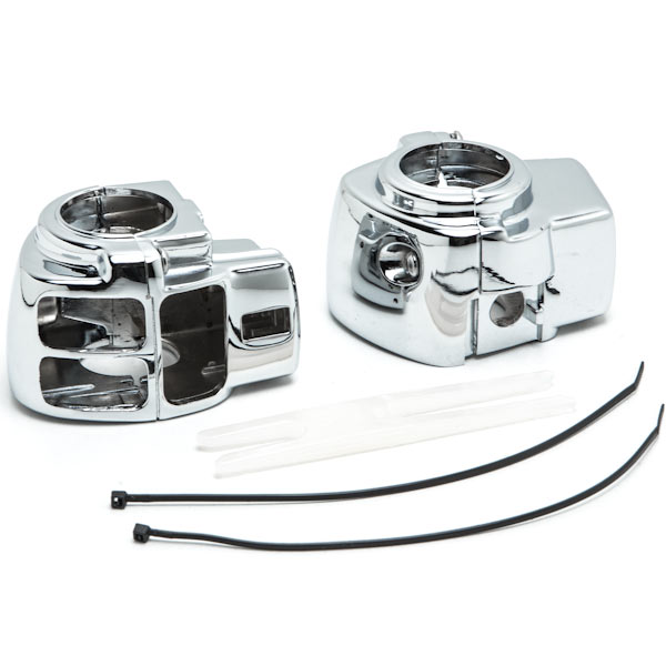Krator Chrome Handlebar Switch Housings Control Cover Kit For 1996-2009 Harley Davidson Electra Glide FLHT (WITHOUT Cruise Control)