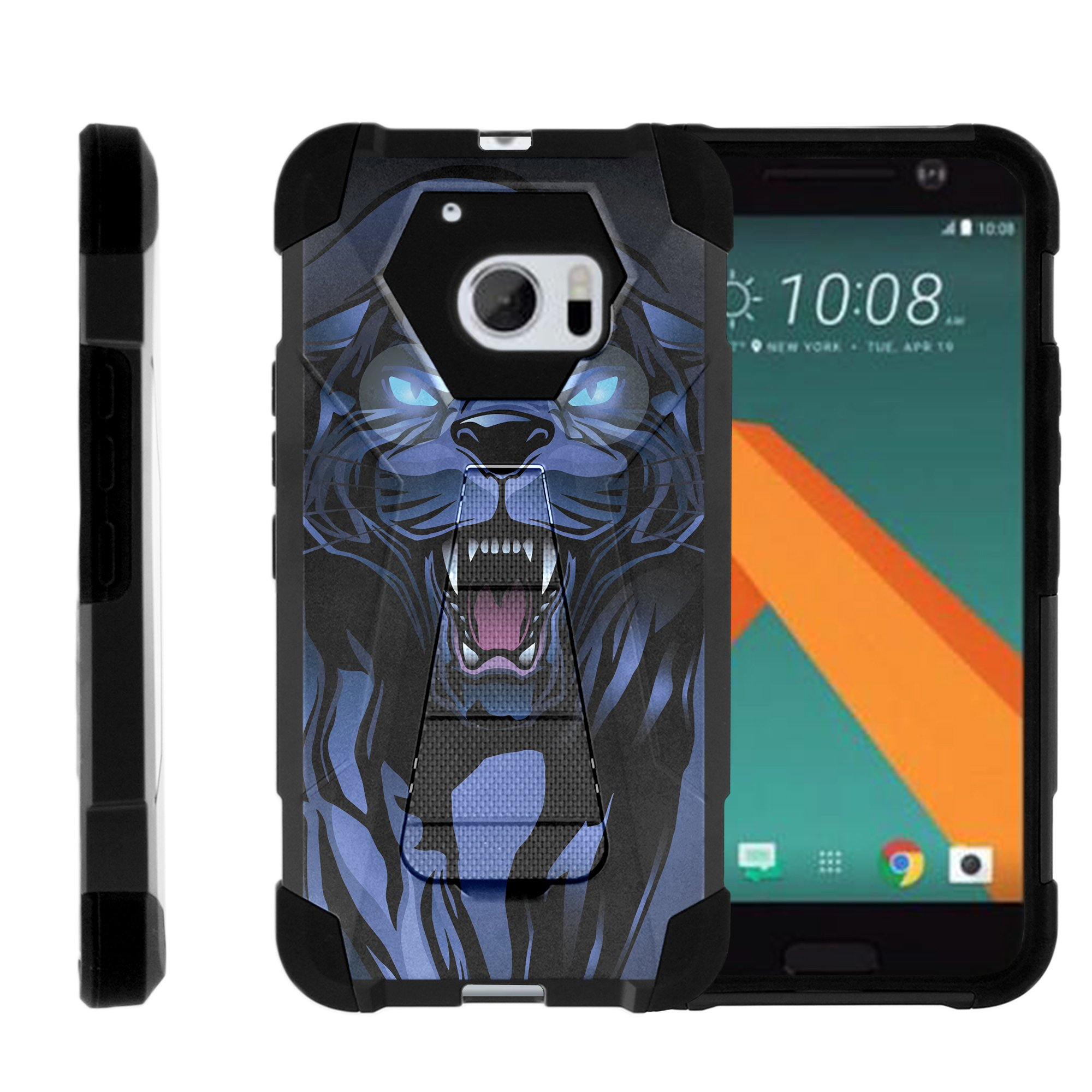 TurtleArmor ® | For HTC 10 | HTC One M10 | HTC 10 Lifestyle [Dynamic Shell] Dual Layer Hybrid Silicone Hard Shell Kickstand Case - Fierce Panther