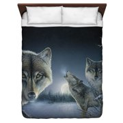 Wild Wings Midnight Wolves 2 Queen Duvet Cover White 88X88