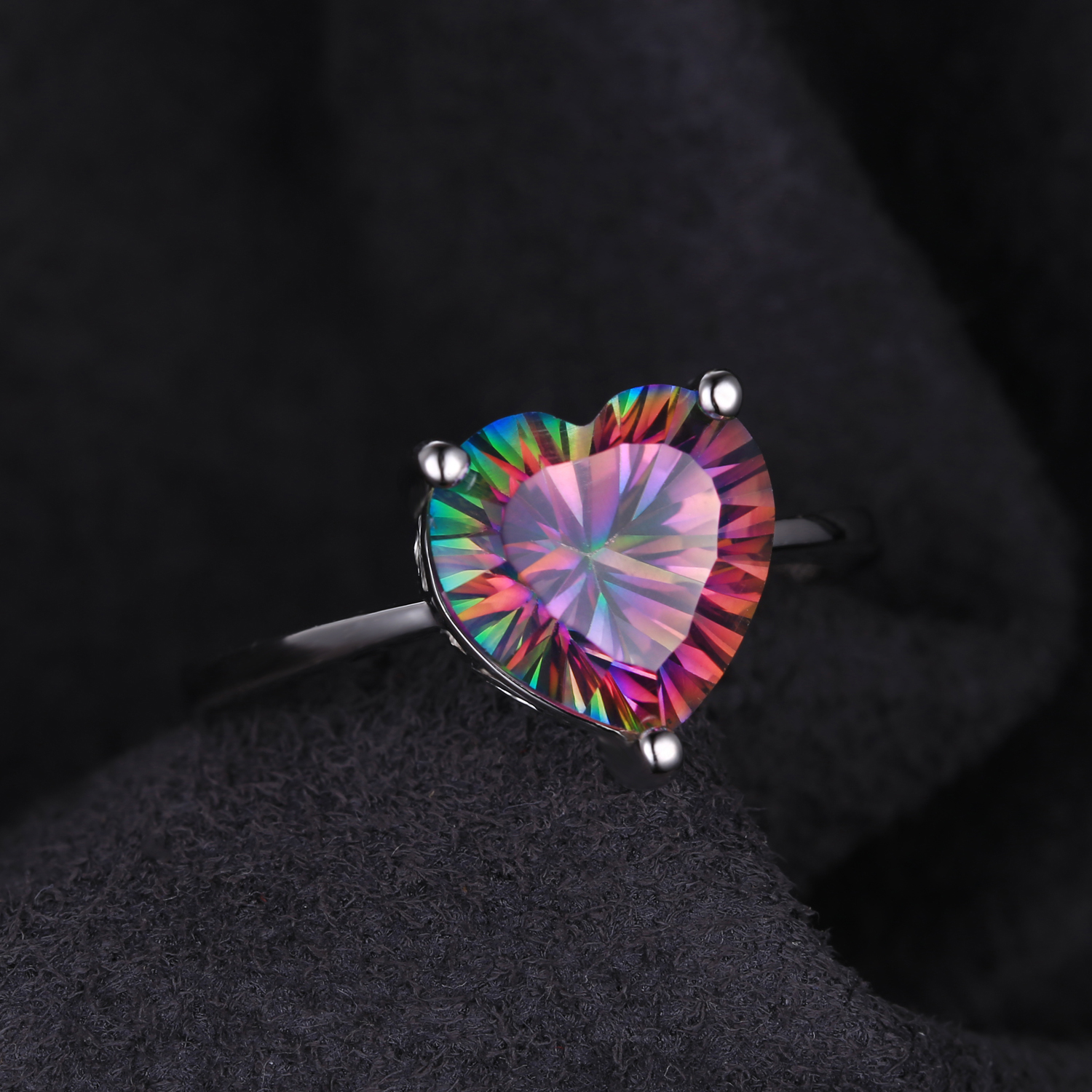 3 1/6 CT Heart Mystic Topaz Cocktail Ring in .925 Sterling Silver - Size 7 (MDS170262) - image 1 of 2