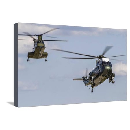 A U.S. Marine Corps Vh-3D Transport Helicopter with a Ch-46E Sea Knight Behind Stretched Canvas Print Wall Art