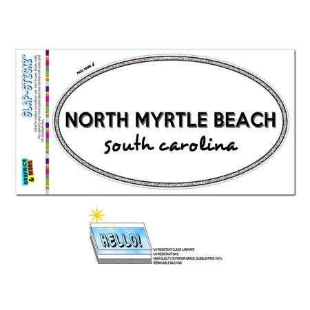 North Myrtle Beach, SC - South Carolina - Black and White - City State - Oval Laminated Sticker