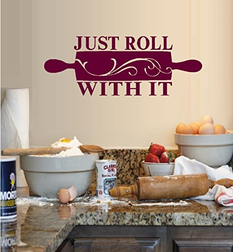 "Decal ~ Just ROLL with it ~ WALL DECAL 9"" X 24"" Black"