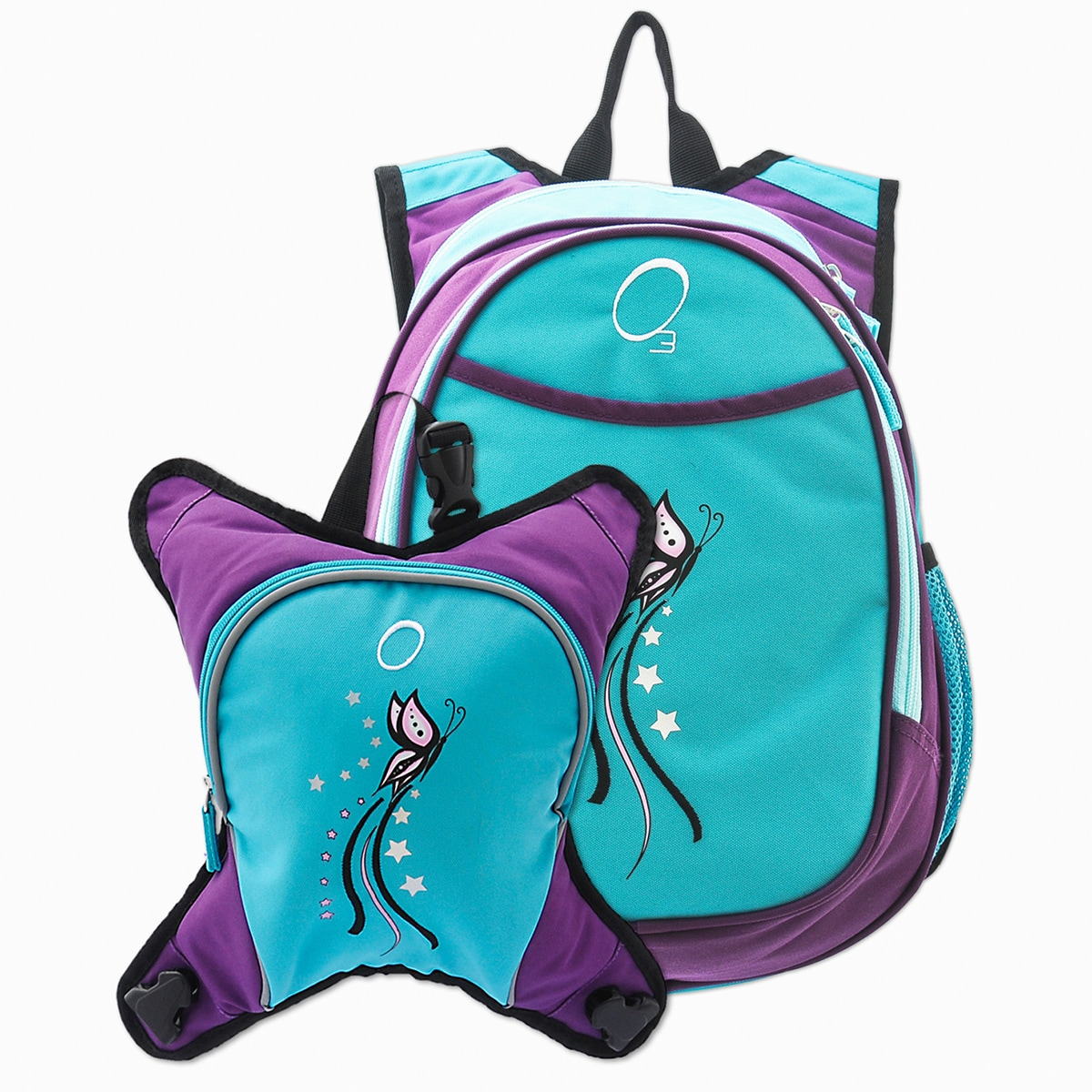 O3 Obersee Munich Turquoise Butterfly School Backpack With Detachable Lunch Cooler