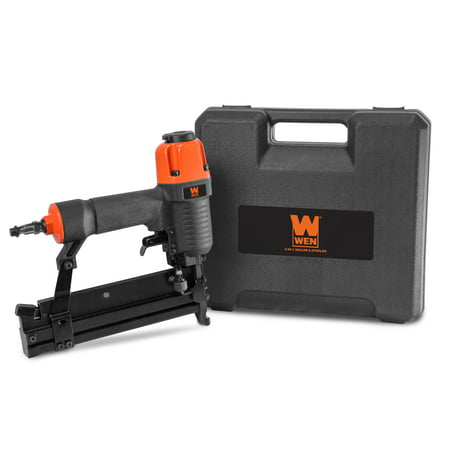 WEN 18-Gauge 2-Inch 2-in-1 Pneumatic Brad Nailer and Stapler with Carrying Case and Safety