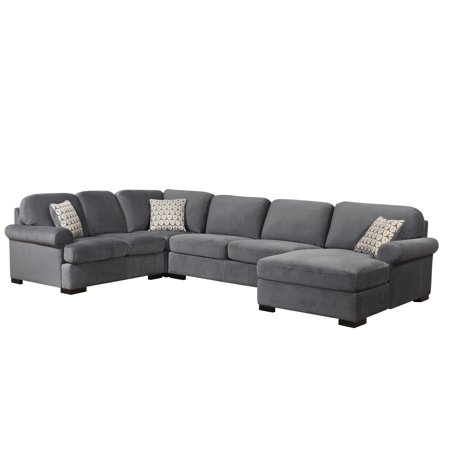 Devon Claire Grey Fabric Transitional Sectional