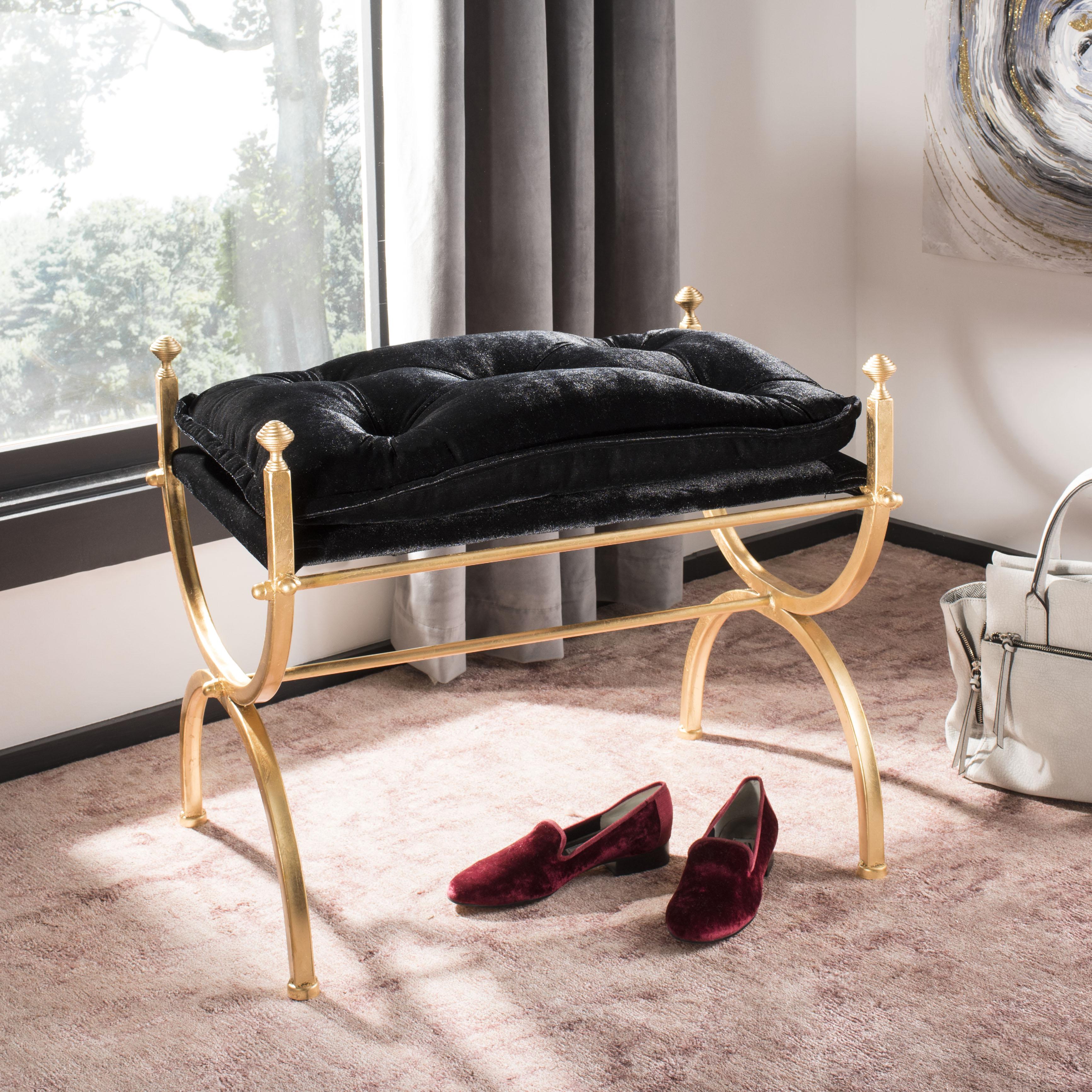 Safavieh Jasmine Modern Glam Tufted Bench, Black/Gold Foil