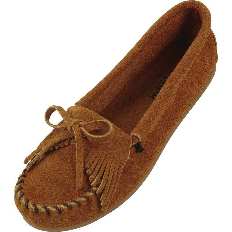 Minnetonka Womens Brown Kilty Suede Moccasin by MINNETONKA