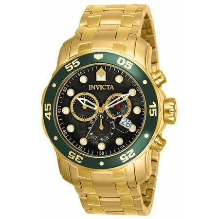 Men's Pro Diver Watch Japan Movement Flame Fusion Crystal 80074 (Invicta Yellow Bracelet)