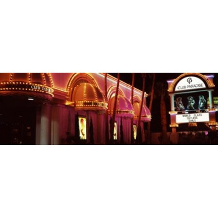 Halloween Events Las Vegas Strip (Strip club lit up at night Las Vegas Nevada USA Canvas Art - Panoramic Images (18 x)