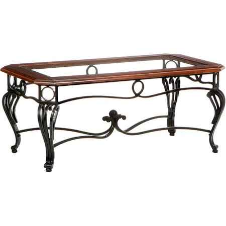 Aberdeen Coffee Table, Dark Cherry, Metal & Glass