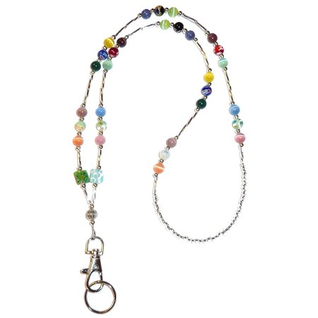 Hidden Hollow Beads SUPER Slim Multi Women's Beaded Fashion Lanyard Necklace, Jewelry ID Badge and Key Holder, 34 in. (Cheap Lanyards In Bulk)