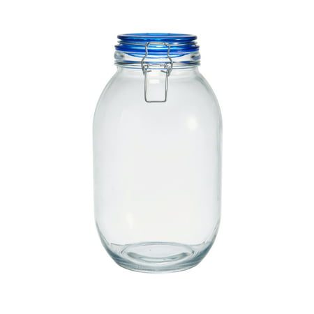 Glass Jars With Lids (Pfaltzgraff 3000 Ml Glass Preserving Jar With Clamp Color Lid,)
