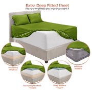 "Premium 1800 Collection 18"" - 21"" Extra Deep Pocket Fitted Sheet, Fits High Profile Mattresses with Toppers, Double Brushed Soft Microfiber, Hypoallergenic, Queen Size - Calla Green"