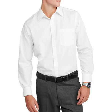 George Mens Slim Fit Long Sleeve Solid Poplin Dress Shirt