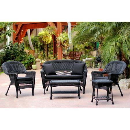 5-Piece Black Resin Wicker Patio Chair, Loveseat & Table Furniture Set - Black Cushions ()