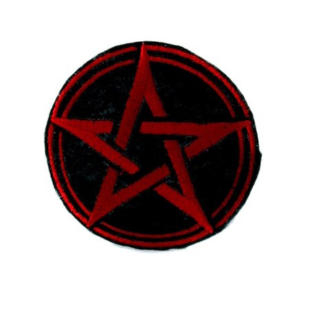 Witchcraft Clothes (Red Wicca Pentagram Patch Iron on Applique Alternative Clothing Pagan)