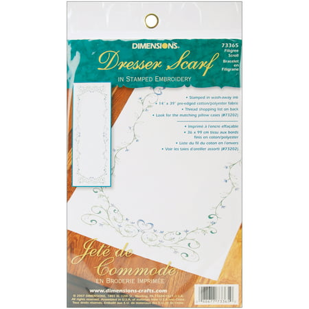 """Dimensions Filigree Scroll Dresser Scarf Stamped Embroidery, 14"""" x 39"""""""