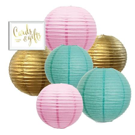 Pastel Hanging Paper Lanterns Kit, 6ct with Party Sign (Blush Pink, DIamond Blue, Gold) (Paper Latern)