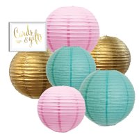 Pastel Hanging Paper Lanterns Kit, 6ct with Party Sign (Blush Pink, DIamond Blue, Gold)