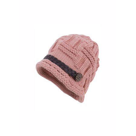 Women's Braided Band Decor Design Winter Wearing Knit Beanie Hat Pink