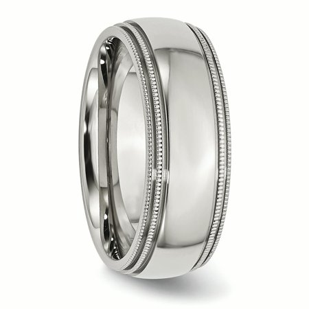 Stainless Steel Grooved Beaded 8mm Wedding Ring Band Size 14.00 Classic Milgrain Double Beadsed Fashion Jewelry For Women Gifts For Her - image 5 de 9