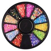 SHIYAO Nail Art Sequins Glitter Kits, 12 Grids Round Nails Laser Sequins Metallic Shining Flakes Nail Glitter Set