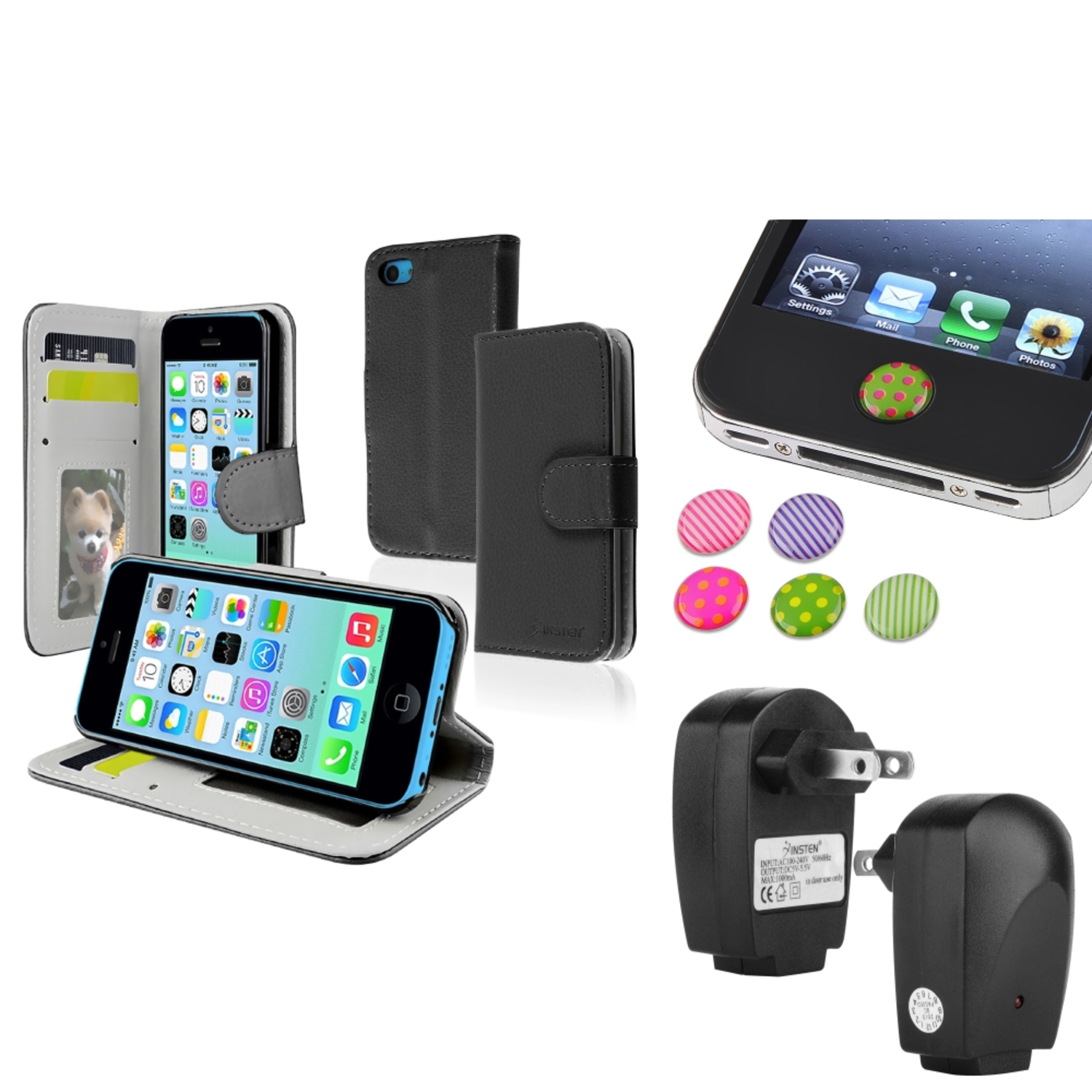 Insten Black Stand Wallet Card Leather Case Black AC Charger Sticker For Apple iPhone 5C