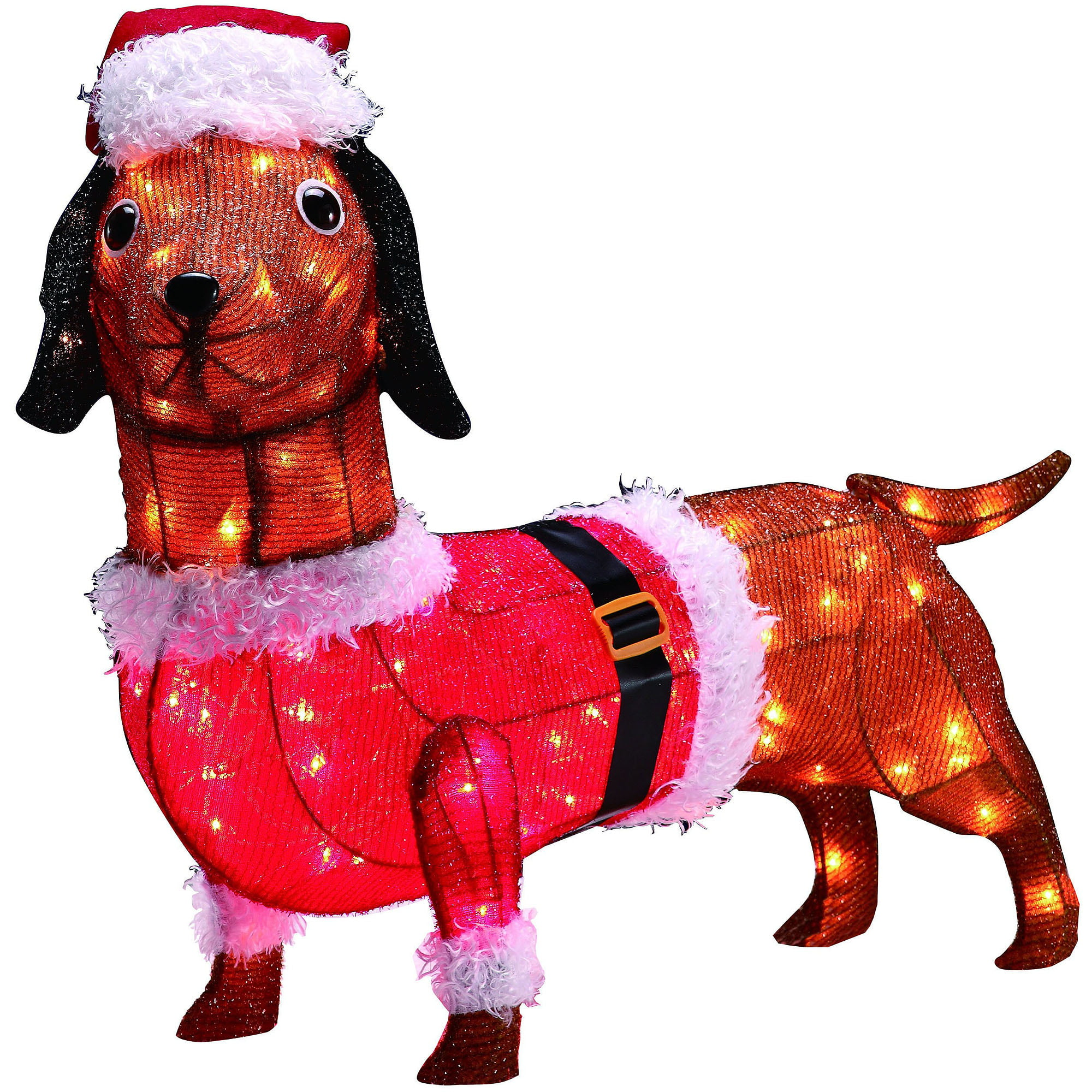 holiday time 30 tinsel dascshund dog light sculpture walmartcom - Outdoor Lighted Dog Christmas Decorations