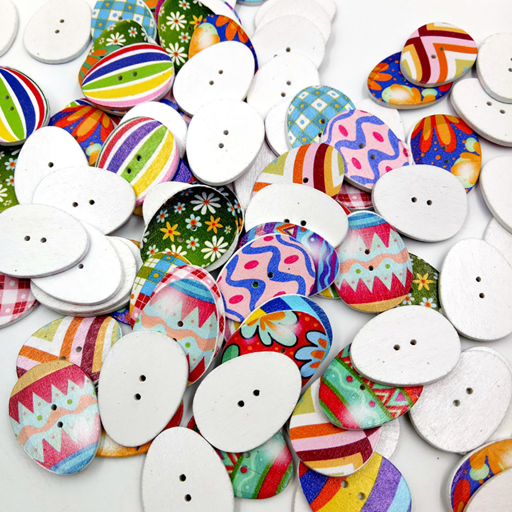 100 PCs Mixed Wooden Buttons Painting Easter Eggs 2Hole Fit Sewing DIY Craft New