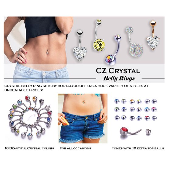 Bodyj4you 15pcs Professional Piercing Kit Steel Goldtone 14g Double Cz Belly Navel Ring Body Piercing Set